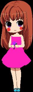 La chica del vestido rosa enamorada